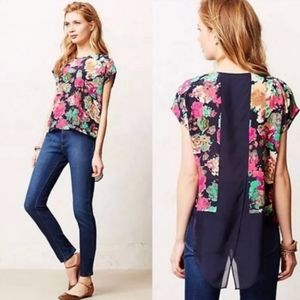 Maeve Silk Floral High-Low Blouse
